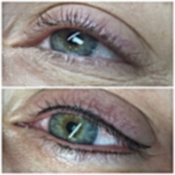 Image of before permanent eyeliner application and after application