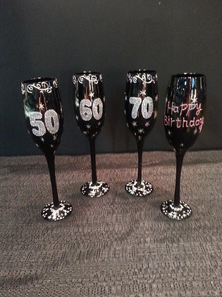 Champagne Flutes -40, 50, 60, 70 or Happy Birthday