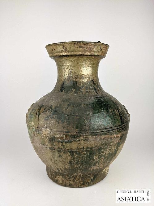 Bleiglasierte Vase mit Ringappliken, Han, China