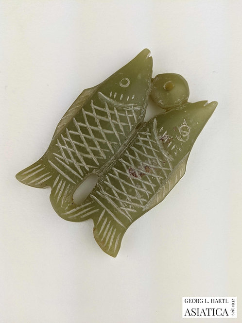 Paar Fische aus grüner Jade, 18./19. Jh., China