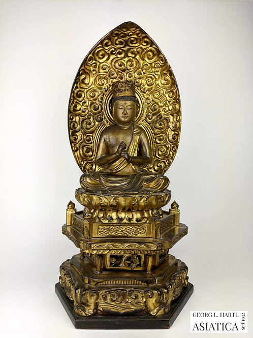 Lackierte und vergoldete Holzfigur des Buddha Vairocana, um 1800, Japan
