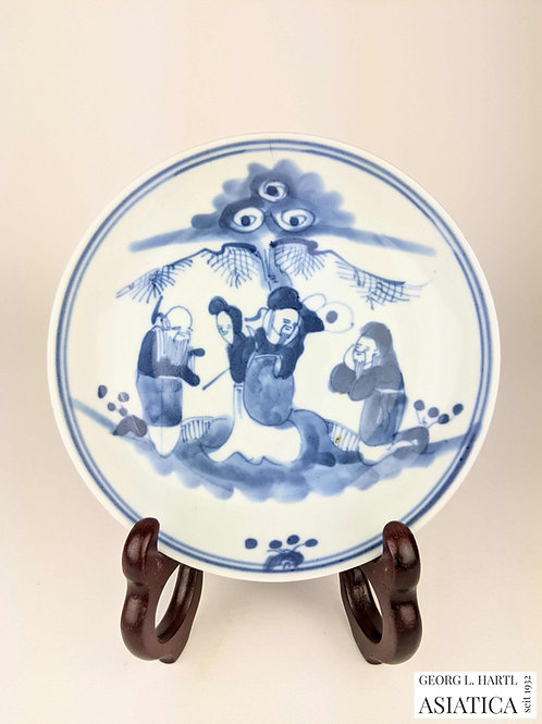 Kobaltblaues Schälchen mit Personendekor, Qing, China