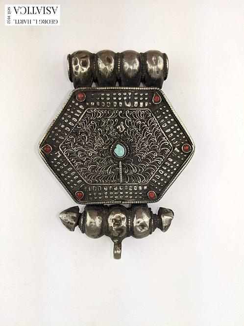 Silberner Gau mit Steinbesatz, 19. Jh., Tibet