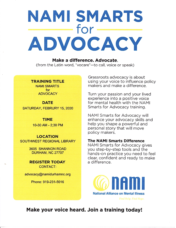 NAMI SMARTS for ADVOCACY TRAINING   FEBR