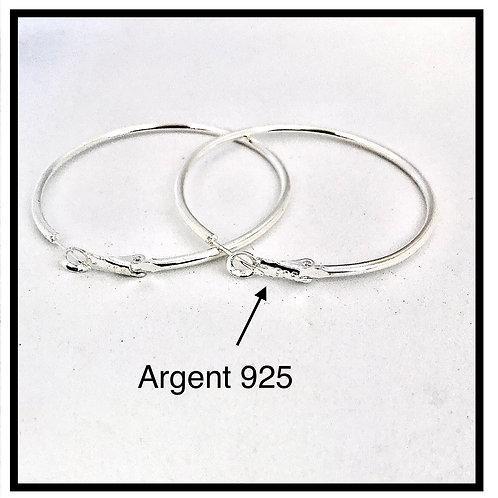 ARGENT 925  X1 paire de créole , boucles d'oreilles, anneaux, ...