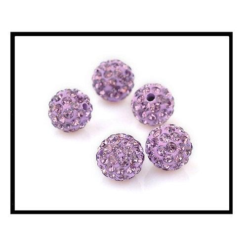 lot de 10 perles shamballa violet clair cristal strass 10mm