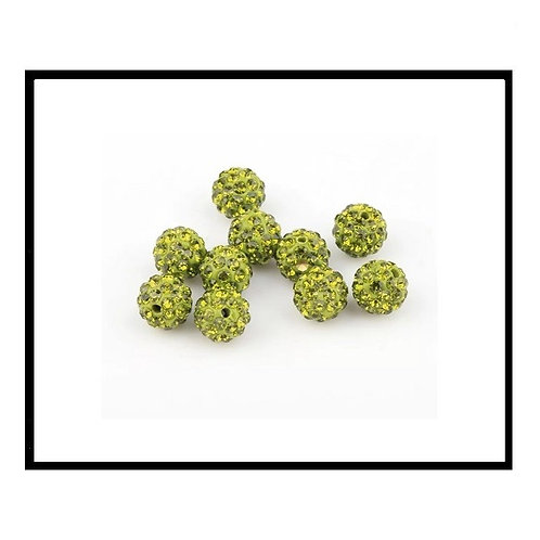 lot de 10 perles shamballa vert olive cristal strass 10mm