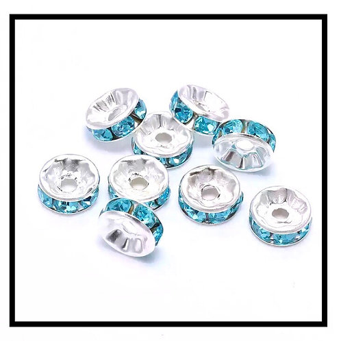 20pcs  perles rondelles strass intercalaires 10mm