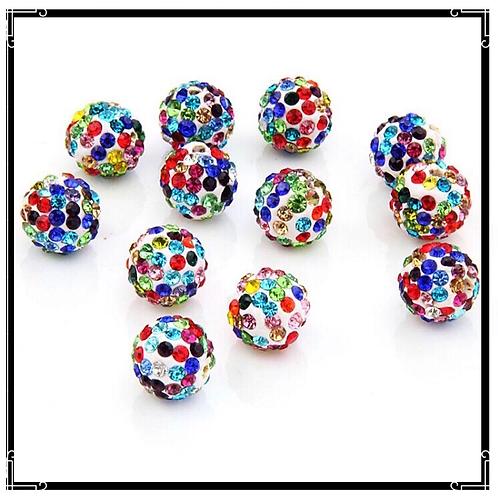Lot de 10 perles shamballa blanc cristal strass multicouleurs 10mm.