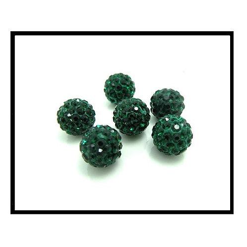 lot de 10 perles shamballa vert bouteille cristal strass 10mm