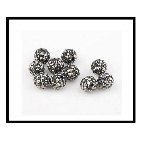 lot de 10 perles shamballa gris disco cristal strass 10mm.