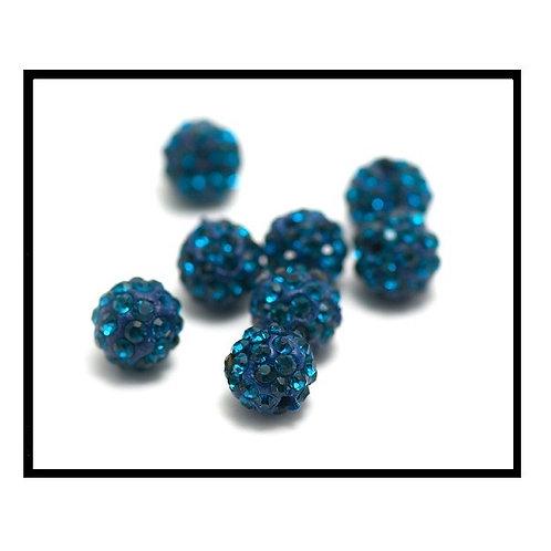 lot de 10 perles shamballa bleu lagon cristal strass 10mm.