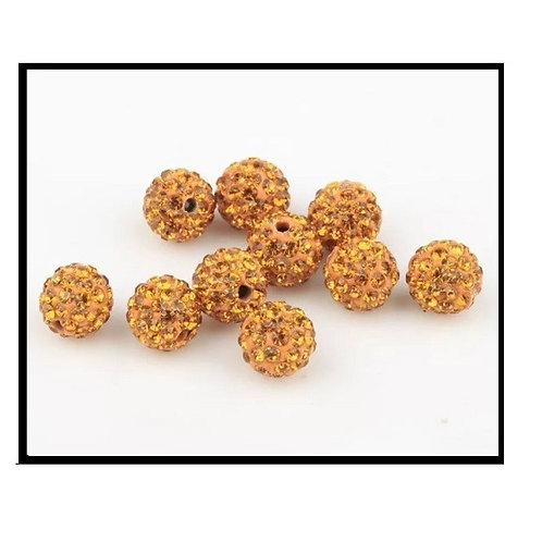 lot de 10 perles shamballa orange doré/ jaune or cristal strass 10mm