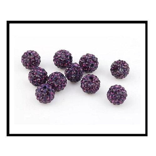 lot de 10 perles shamballa violet prune cristal strass 10mm