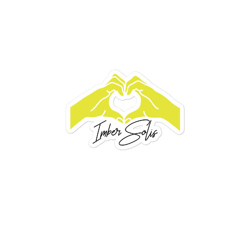 Heart Hands Yellow Bubble-free Stickers