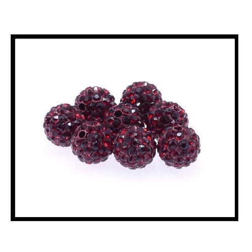 lot de 10 perles shamballa rouge bordeaux cristal strass 10mm