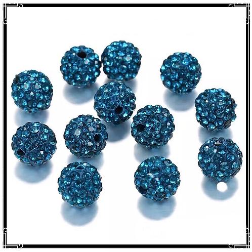 lot de 10 perles shamballa bleu vert cristal strass 10mm.