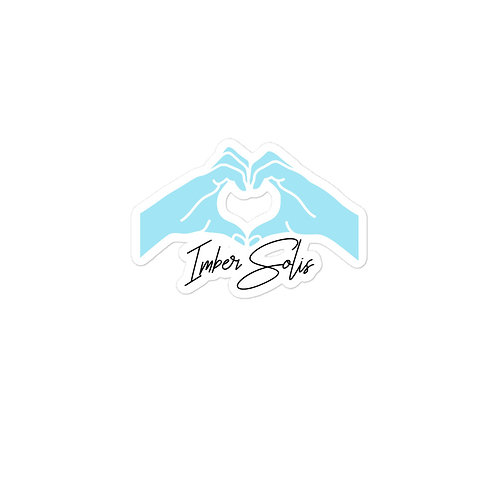 Heart Hands Light Blue Bubble-free Stickers