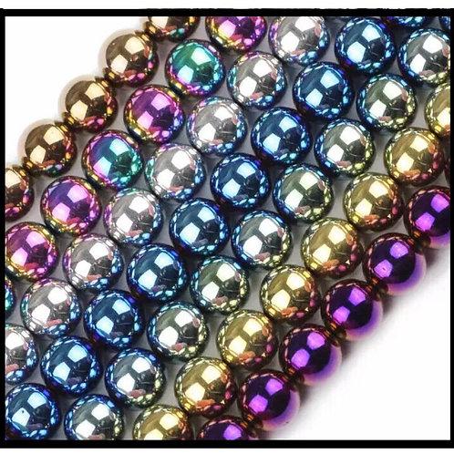 X10 perles hématites rondes mix couleurs.