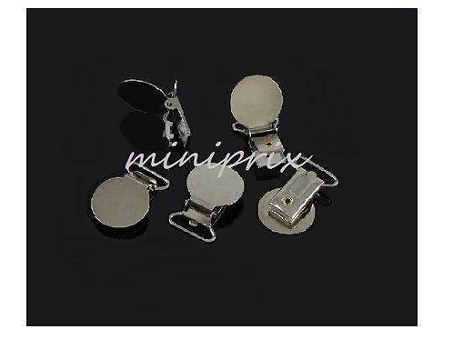 X 1 clip attache tétine, attache sucette, clip / pince bretelle en métal argenté