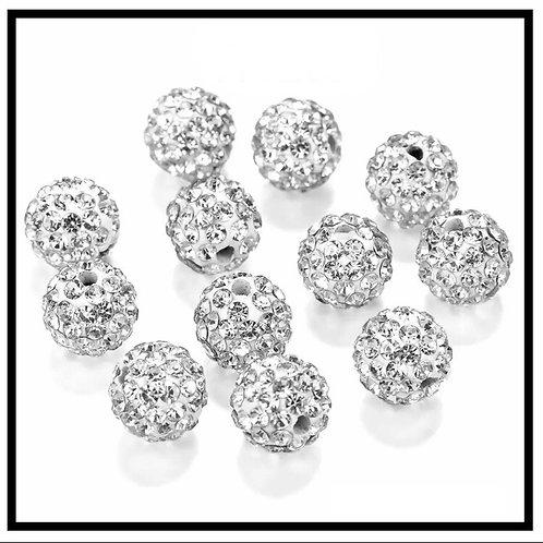 lot de 10 perles shamballa blanc argenté cristal strass 10mm.