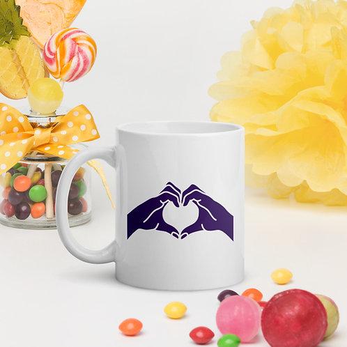 Heart Hands White Glossy Mug