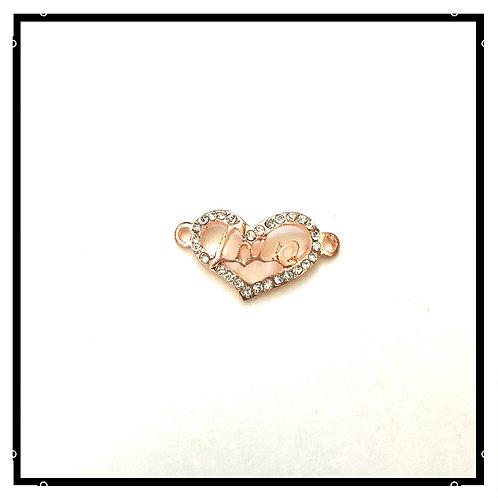 4pcs connecteurs love  en métal cuivré rose avec strass