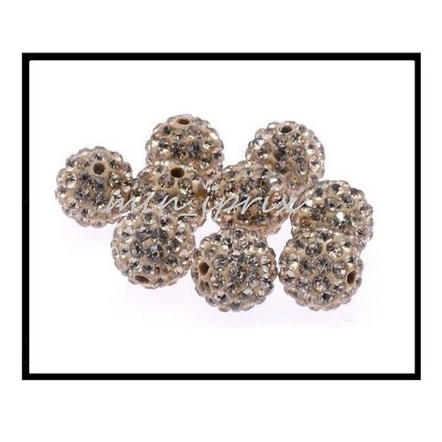 lot de 10 perles shamballa marron café cristal strass 10mm