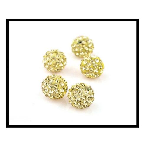 lot de 10 perles shamballa jaune clair cristal strass 10mm