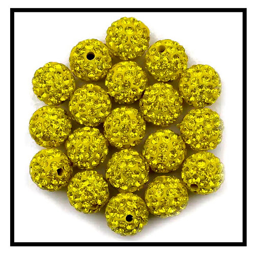 lot de 10 perles shamballa jaune  cristal strass 10mm