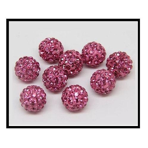 lot de 10 perles shamballa rose cristal strass 10mm