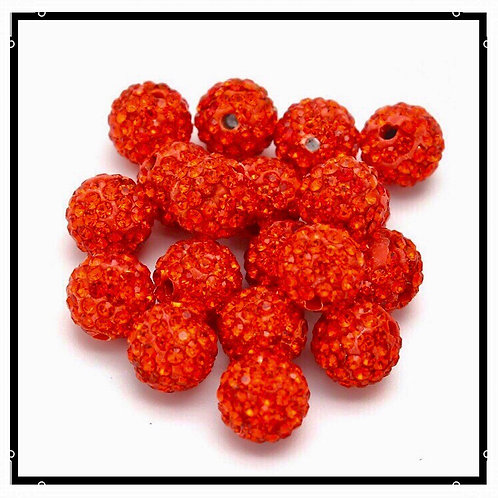 lot de 10 perles shamballa orange rouge cristal strass 10mm