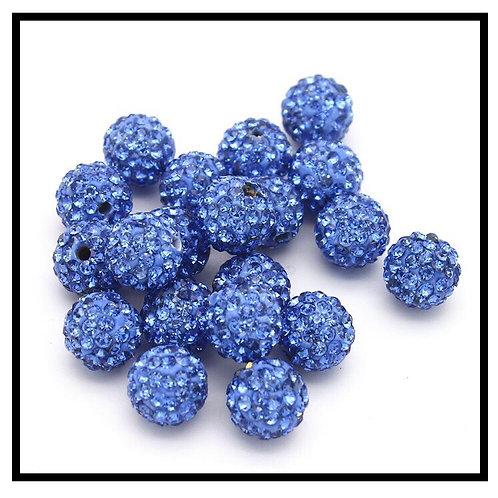 lot de 10 perles shamballa bleu clair cristal strass 10mm.