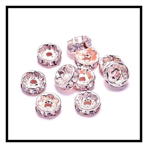 20pcs  perles rondelles strass intercalaires 10mm