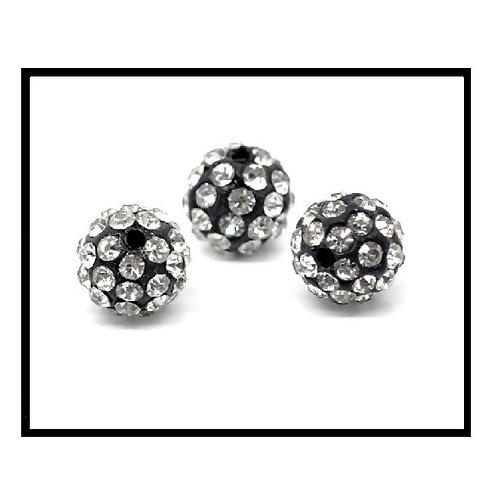 lot de 10 perles shamballa noir cristal strass blanc.