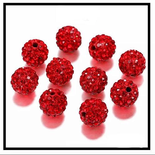 lot de 10 perles shamballa rouge cristal strass 10mm