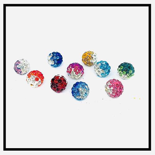 10pcs  perles shamballa mix bicouleurs cristal strass, 10mm.