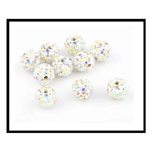 lot de 10 perles shamballa blanc aurore  cristal strass 10mm