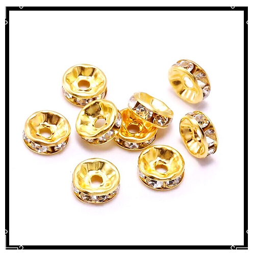 20pcs perles rondelles strass intercalaires dorées 10mm.