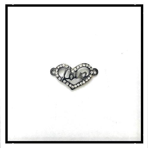 4pcs connecteurs coeur/love métal noir avec strass.