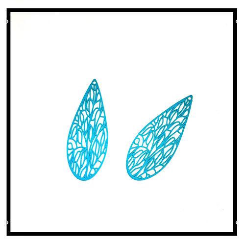 4pcs estampes pendentifs filigrane bleu turquoise