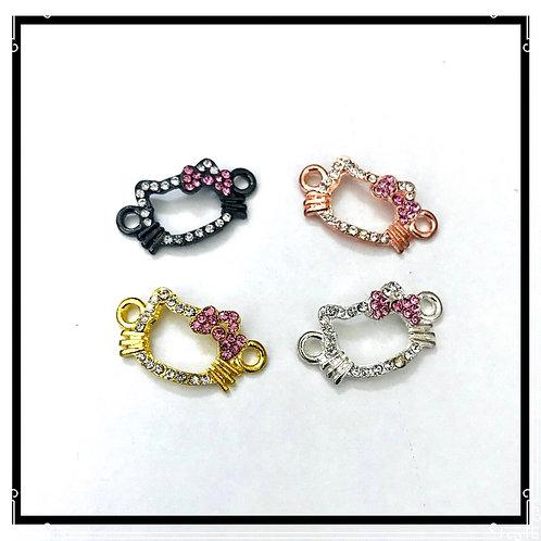 X4 connecteurs tête de chat, métal doré, doré rose, argenté et noir avec strass