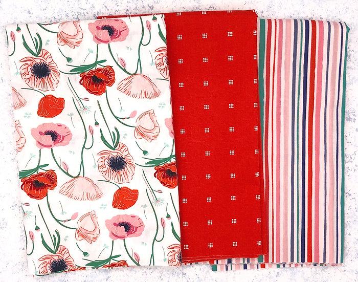 3 Yard Fabric Bundle - Flowerette in Red