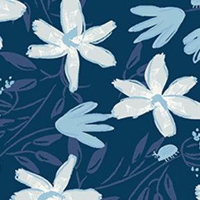 Blue Goose Floral - Navy Blue - meags & me