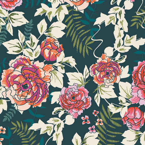 Everblooming Camellias Aglow - Art Gallery Fabrics