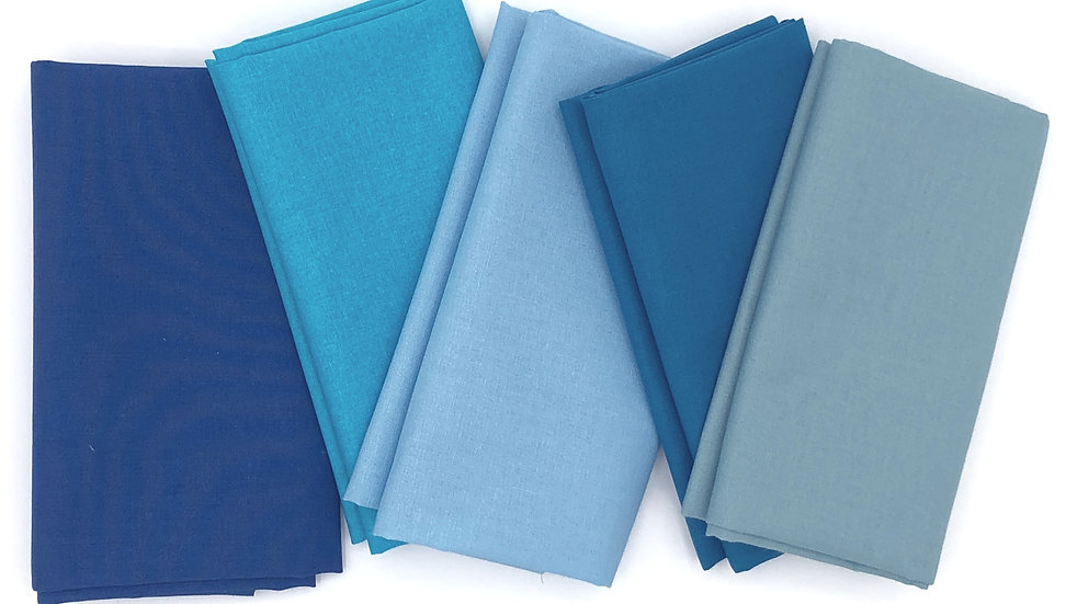 American Made Brand - 5 Fat Quarters in shades of Blue