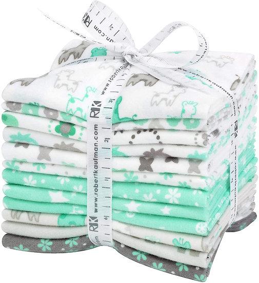 Robert Kaufman Mint/Grey Cozy Cotton Fat Quarter Bundle