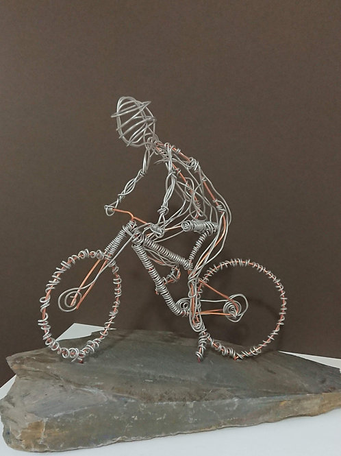 Offroad cyclist wire sculpture