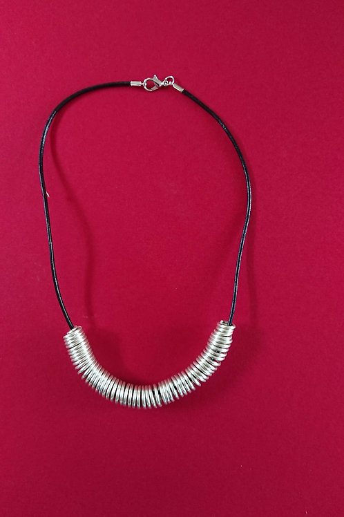 Hand crafted silver plated copper wire necklace on leather cord