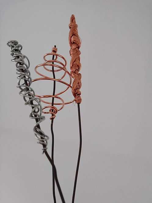 Seed Heads set of 3 ( Pack B- twisted copper, steel grass, recycled copper grass